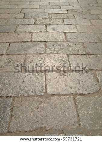 Grey vintage square stone pavement from China - stock photo