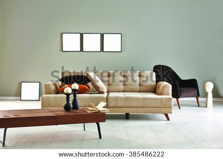 grey wall modern sofa and armchair with frame design living room  - stock photo
