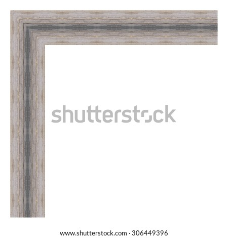 Grey wooden frame isolated on white background. Contemporary picture frames in high resolution vibrant colors. Wood photo frame. Wooden frame for paintings or photographs. - stock photo