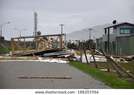 GREYMOUTH, NEW ZEALAND, APRIL 17, 2014: Aircraft hangars destroyed by Cyclone Ita, Greymouth, New Zealand, April 17, 2014