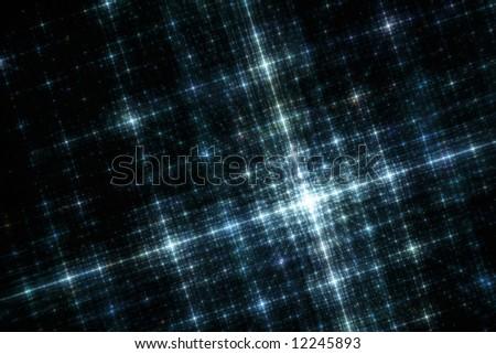 Grid of Blue City Lights at Night Fractal Illustration - stock photo