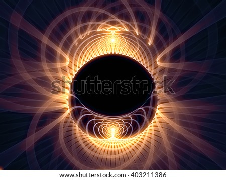 Grid Worlds Two series. Composition of glowing fractal grid lines against black background suitable as a backdrop for the projects on geometry, mathematics, science, technology and education - stock photo