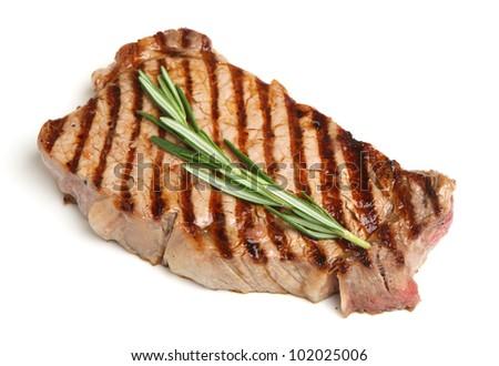 Griddled sirloin beef steak - stock photo