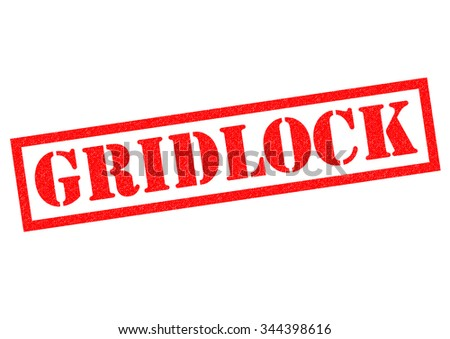 GRIDLOCK red Rubber Stamp over a white background. - stock photo