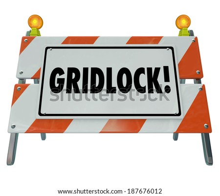 Gridlock Sign Barrier Barricade Road Construction Sign Traffic - stock photo