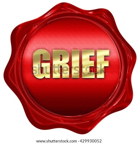 grief, 3D rendering, a red wax seal - stock photo