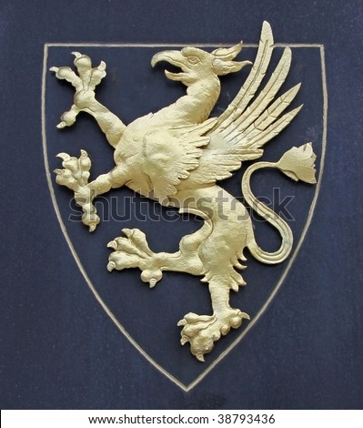 Griffin as a symbol for a coat of arms - stock photo
