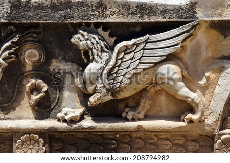 Griffin sculptures, winged mythical creature,  at Didyma,  Turkey - stock photo