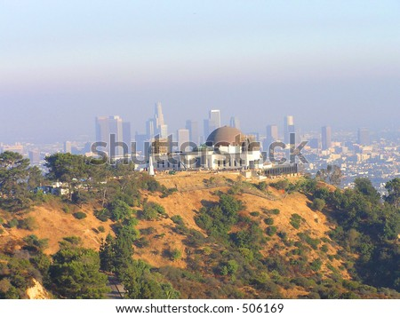 Griffith Observatory and LA Skyline - stock photo