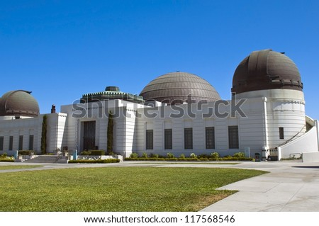 Griffith Observatory at the top of the mountain in Griffith Park in Los Angeles, USA - stock photo