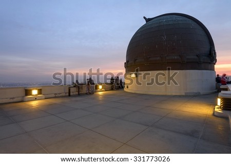 Griffith Observatory - Los Angeles, CA - planetarium dome at dusk - stock photo