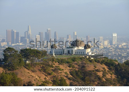 griffith observatory with southern california downtown - stock photo