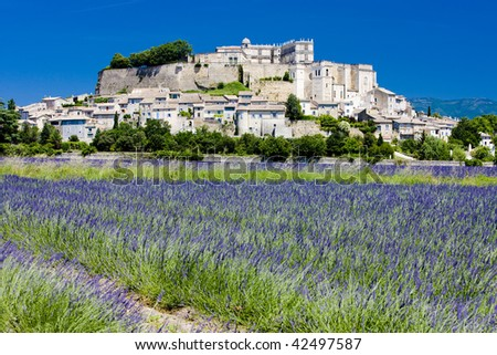 Grignan with lavender field, Department Drome, Rhone-Alpes, France - stock photo