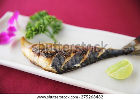 Grill Mackarel fish japanese food  - stock photo