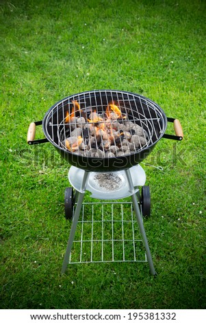 Grill on the garden, close-up. - stock photo