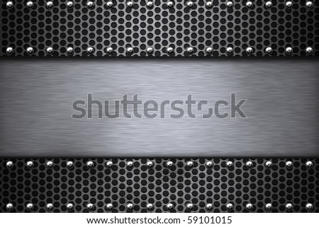 Grill pattern riveted to brushed steel background. - stock photo