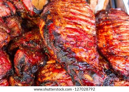 Grill pork ribs at Thailand  market - stock photo
