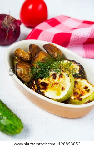 grill vegetables, mushrooms and zucchini