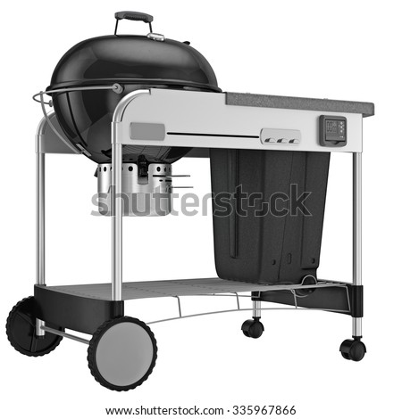 Grill with cart on wheels. 3D graphic object on white background isolated
