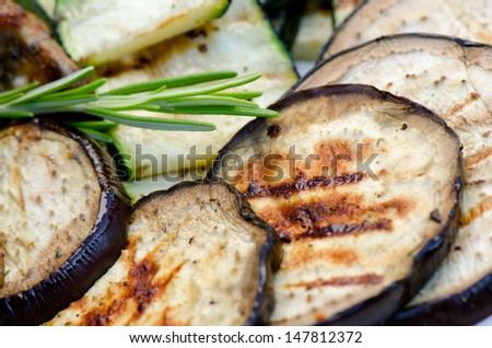 Grilled aubergine, close up - stock photo