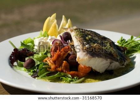 Grilled Barramundi, served with a Greek-style Salad - stock photo