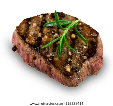 Grilled bbq steak on white background - stock photo
