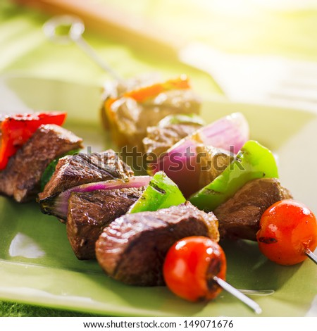 grilled beef shishkabobs on green plate - stock photo