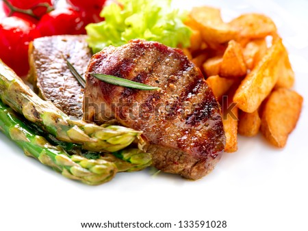 Grilled Beef Steak Meat With Fried Potato Asparagus And Cherry Tomato Steak Dinner
