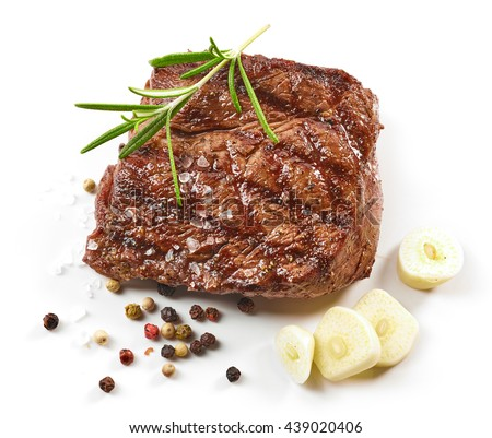 grilled beef steak with spices isolated on white background, top view - stock photo