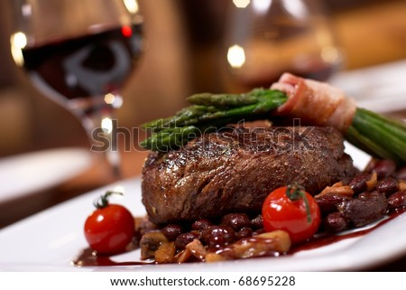 grilled beef with tomato - stock photo