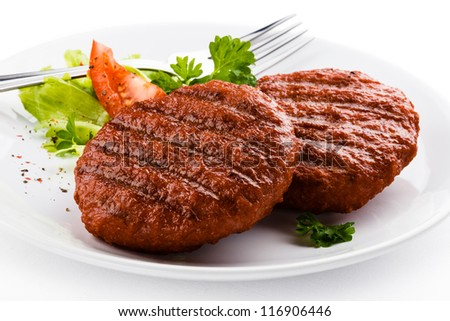 Grilled beefsteak and vegetables - stock photo