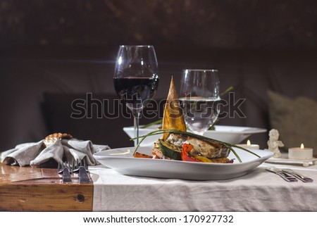 Grilled butter fish fillet served with vegetables