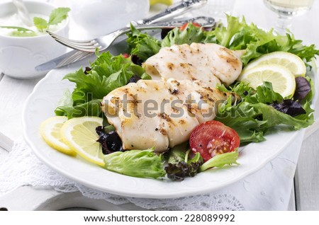 grilled calamari - stock photo
