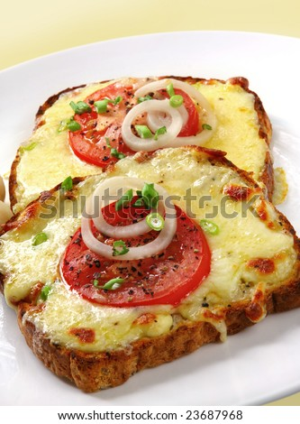 Grilled cheese and tomato on toast, garnished with onion.  A delicious melting snack. - stock photo