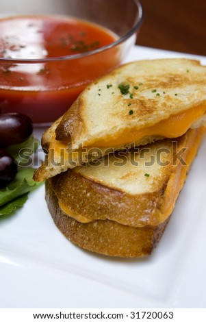 Grilled Cheese Sandwich with Tomato Soup - stock photo