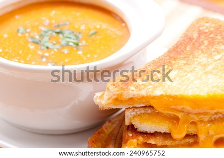 grilled cheese sandwiches and tomato chickpea soup