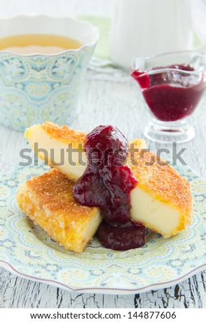 Grilled cheese with cranberry sauce.