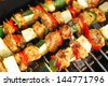 grilled chicken and colorful vegetable shashliks on the summer picnic - stock photo