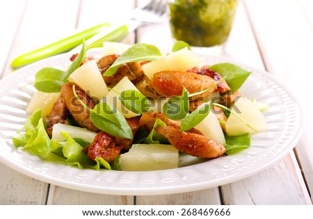 grilled chicken breast salad with pineapple and herbs - stock photo