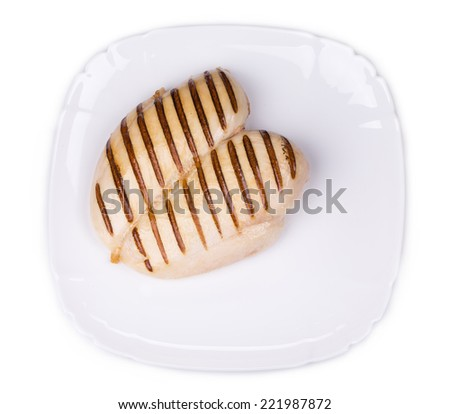 Grilled chicken breasts. Isolated on a white background.  - stock photo