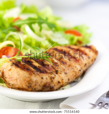 Grilled chicken fillet with fresh vegetable salad - stock photo