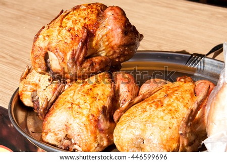 Grilled chicken on the counter market as background - stock photo