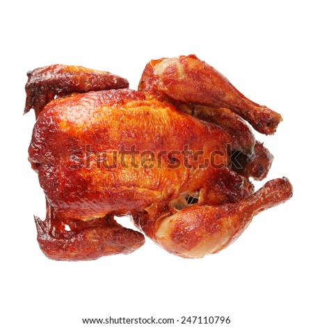grilled chicken on white background - stock photo