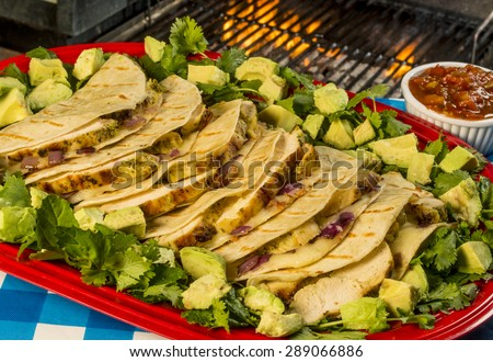 "grilled chicken quesadias served with cilantro salsa and avocado chunks with grill and flames in background""grilled chicken quesadia"", - stock photo"