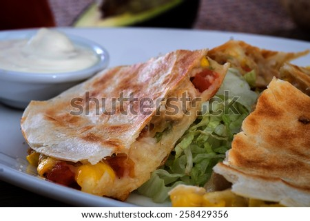 Grilled chicken quesadillas - stock photo