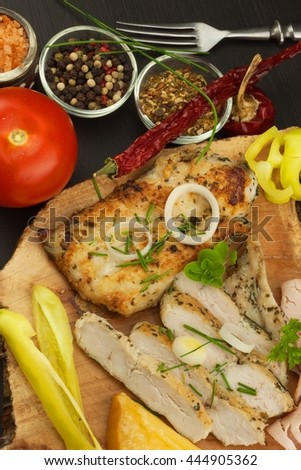 plate and bamboo mat big meal with steaks and fruit salad plate of ...