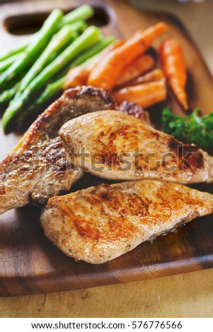 grilled chicken steak with vegetable