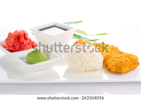 Grilled chicken Teriyaki with steamed rice on white plate isolated - stock photo