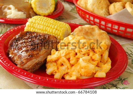 Grilled chicken with all the trimmings on a picnic - stock photo
