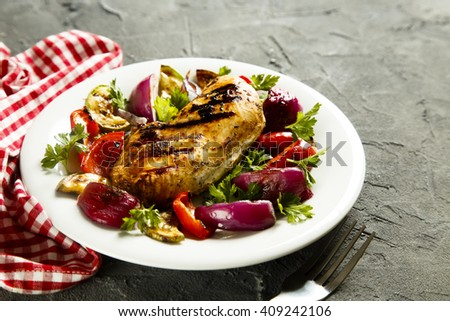 Grilled chicken with vegetable - stock photo